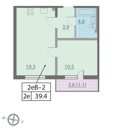 Планировка Однокомнатная квартира площадью 39.4 кв.м в ЖК «Новая Охта»