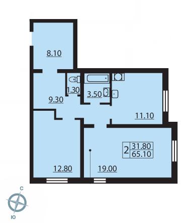 Планировка Двухкомнатная квартира площадью 64.8 кв.м в ЖК «Новая Охта»