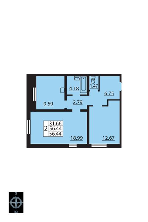Планировка Двухкомнатная квартира площадью 56.44 кв.м в ЖК «Новая Охта»