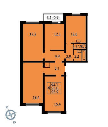 Планировка Четырёхкомнатная квартира площадью 93.5 кв.м в ЖК «Новая Охта»