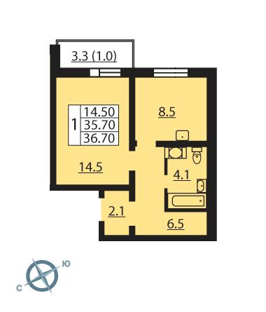 Планировка Однокомнатная квартира площадью 36.9 кв.м в ЖК «Новая Охта»