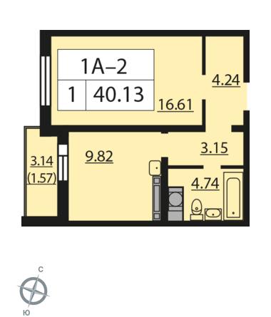 Планировка Однокомнатная квартира площадью 40.13 кв.м в ЖК «Новая Охта»