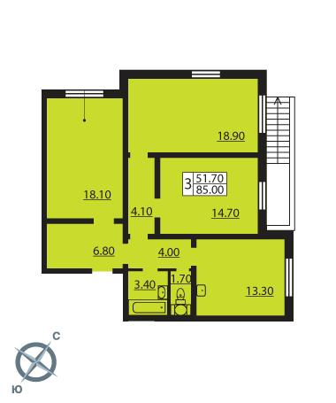 Планировка Трёхкомнатная квартира площадью 84.7 кв.м в ЖК «Новая Охта»