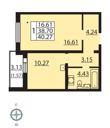 Планировка Однокомнатная квартира площадью 40.27 кв.м в ЖК «Новая Охта»