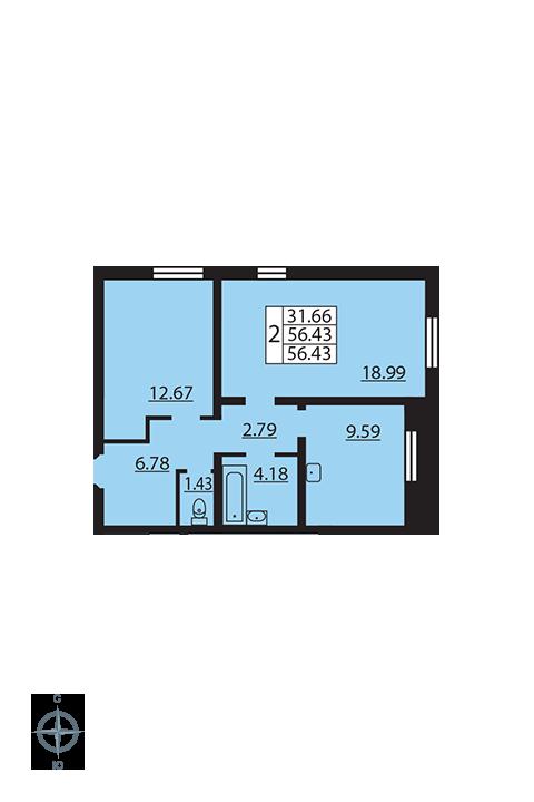 Планировка Двухкомнатная квартира площадью 56.43 кв.м в ЖК «Новая Охта»