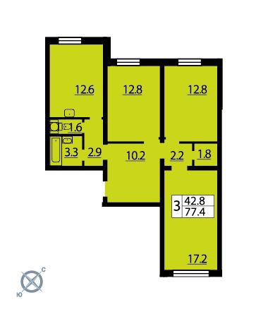 Планировка Трёхкомнатная квартира площадью 77.2 кв.м в ЖК «Новая Охта»