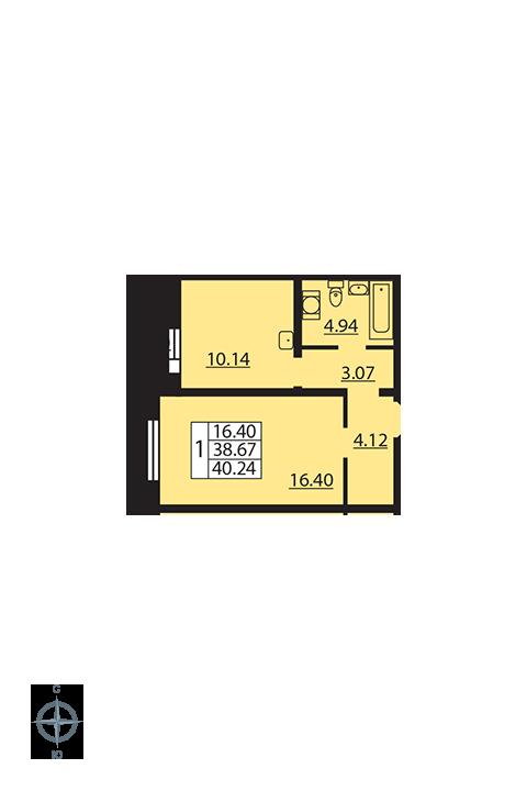 Планировка Однокомнатная квартира площадью 40.24 кв.м в ЖК «Новая Охта»