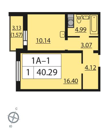 Планировка Однокомнатная квартира площадью 40.29 кв.м в ЖК «Новая Охта»