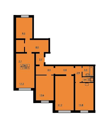 Планировка Четырёхкомнатная квартира площадью 99.9 кв.м в ЖК «Новая Охта»