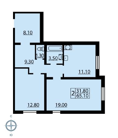 Планировка Двухкомнатная квартира площадью 64.6 кв.м в ЖК «Новая Охта»