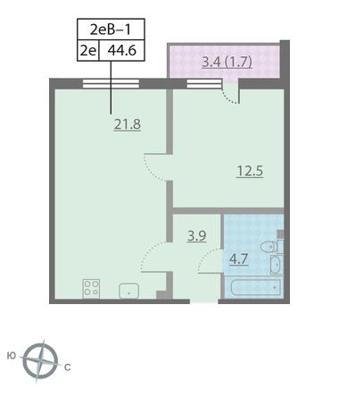 Планировка Однокомнатная квартира площадью 44.6 кв.м в ЖК «Новая Охта»