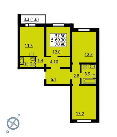 Планировка Трёхкомнатная квартира площадью 70.9 кв.м в ЖК «Новая Охта»