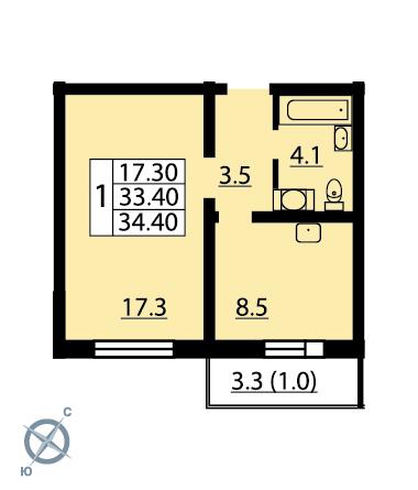 Планировка Однокомнатная квартира площадью 34.4 кв.м в ЖК «Новая Охта»