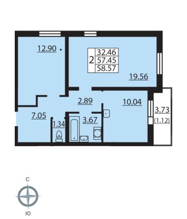 Планировка Двухкомнатная квартира площадью 58.57 кв.м в ЖК «Новая Охта»