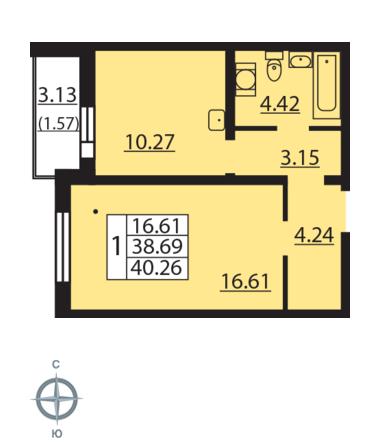 Планировка Однокомнатная квартира площадью 40.26 кв.м в ЖК «Новая Охта»
