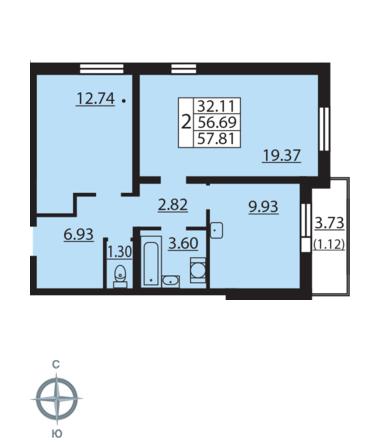 Планировка Двухкомнатная квартира площадью 57.81 кв.м в ЖК «Новая Охта»