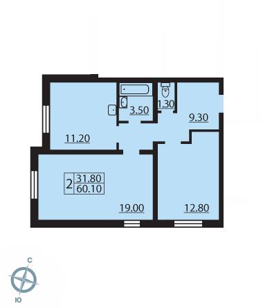 Планировка Двухкомнатная квартира площадью 59.8 кв.м в ЖК «Новая Охта»