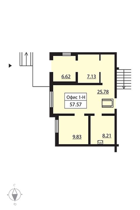 Планировка Коммерческое помещение площадью 55.4 кв.м в ЖК «Новая Охта»
