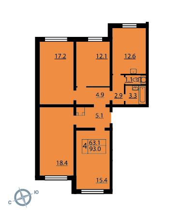 Планировка Четырёхкомнатная квартира площадью 92.6 кв.м в ЖК «Новая Охта»